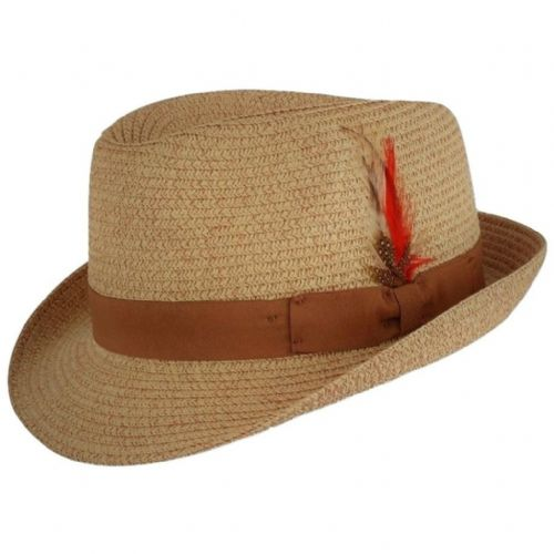 Straw Trilby Hat with Removable Feather - Natural